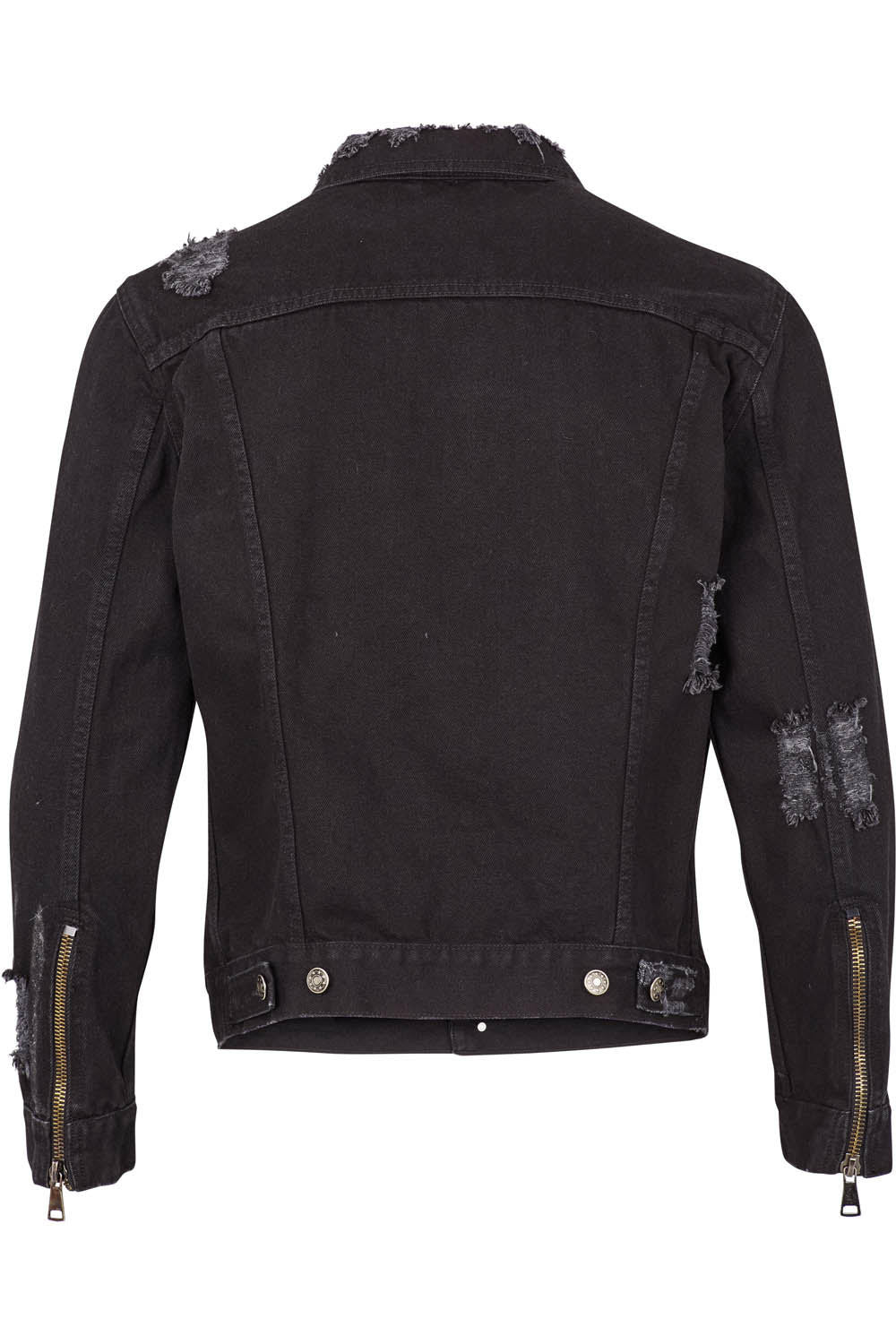Distressed Denim Jacket - Noir