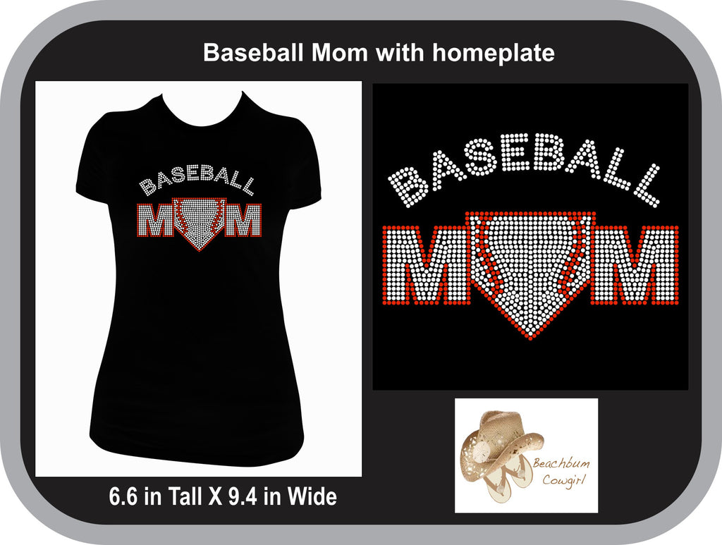 Baseball Mom with Home Plate Bling