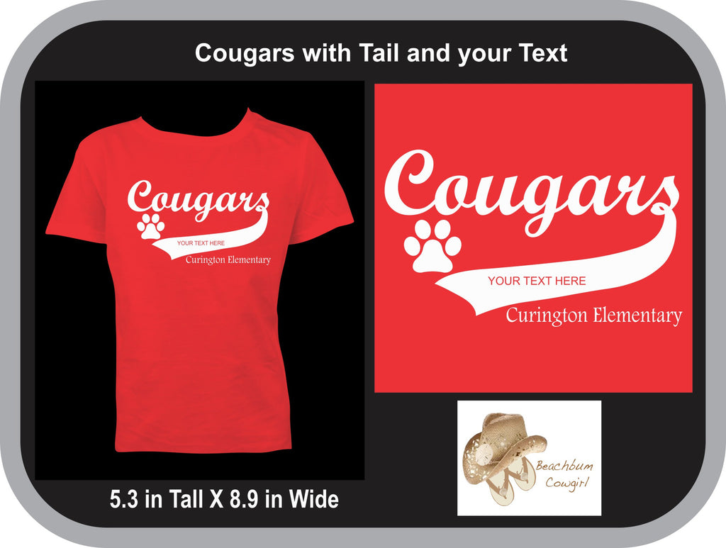 Cougars with Tail Curington Elementary (with your Text) -ADULT