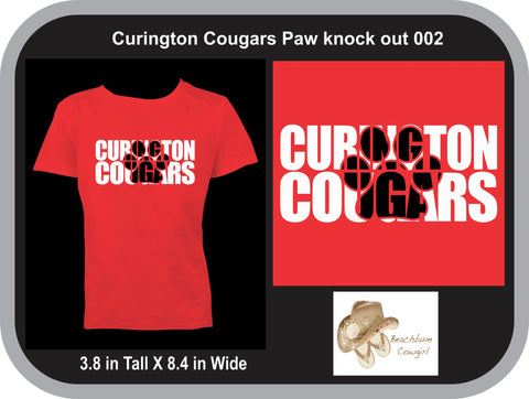 Curington Cougars Knockout Paw Print 002 - ADULT