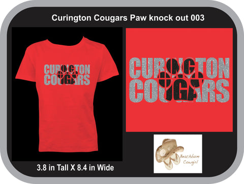 Curington Cougars Knockout Paw Print 003