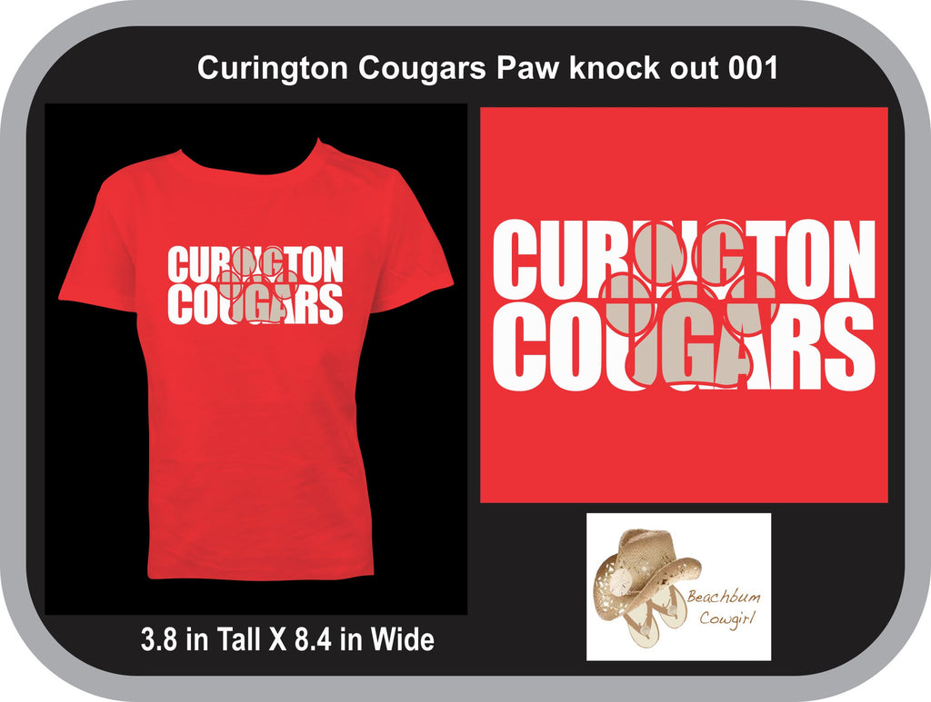 Curington Cougars Knockout Paw Print 001 - ADULT