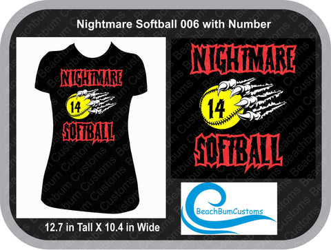 Nightmare Softball 006 with Number - Customized