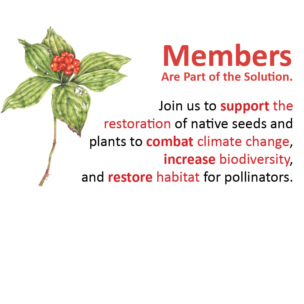 Members Are Part of the Solution. Join us to support the restoration of native seeds and plants to combat climate change, increase biodiversity, and restore habitat for pollinators.