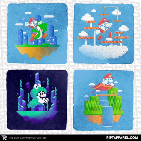 Plumber Power-ups 4-Coaster Set
