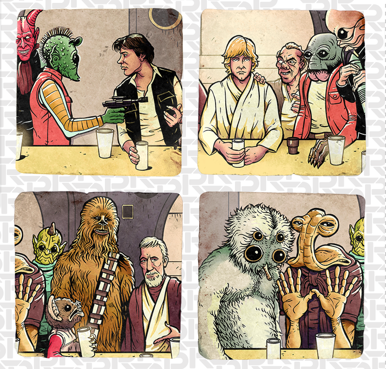 The Last Cantina Hangout 4-coaster Set  - Summer Blockbuster - RIPT Apparel