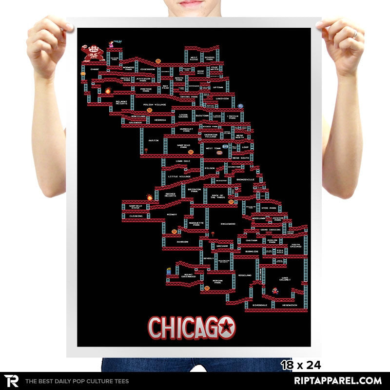 Chicago Neighborhood Black Pixel Map - RIPT Apparel