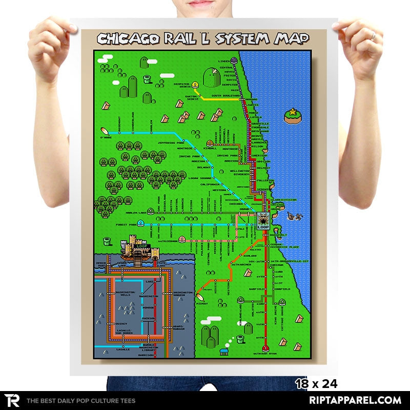 Chicago Rail L System SMW Pixel Map - Collection Image - RIPT Apparel