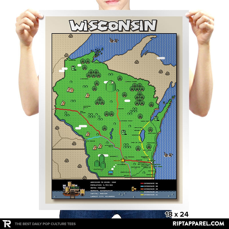 Wisconsin State Pixel Map - RIPT Apparel