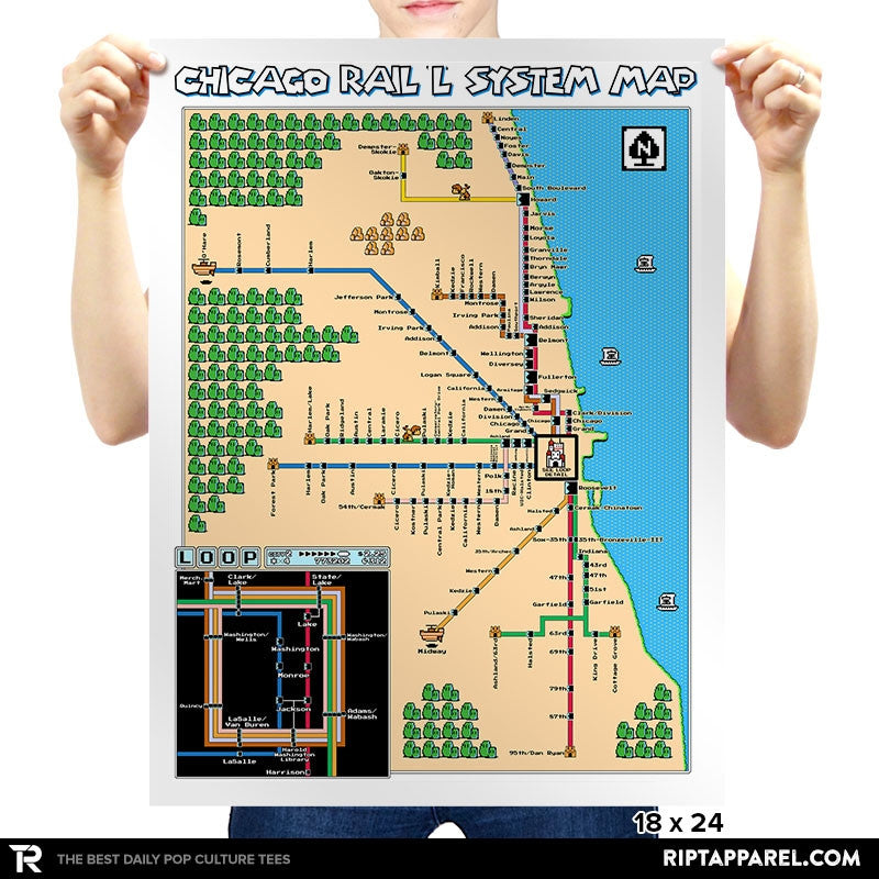 Chicago Rail L System SMB3 Pixel Map - Collection Image - RIPT Apparel