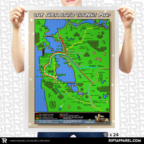 Super Mario World San Francisco BART Map Poster