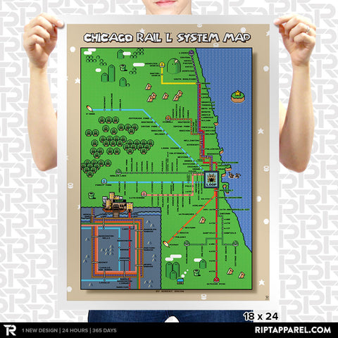 Super Mario World Chicago L Train Map