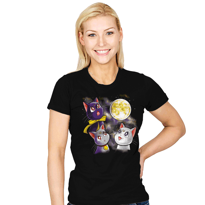 Three Moon Cats - Womens - T-Shirts - RIPT Apparel