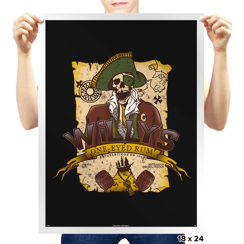 Willy's One-Eyed Rum - Prints - Posters - RIPT Apparel