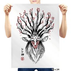 The Deer God sumi-e - Prints - Posters - RIPT Apparel