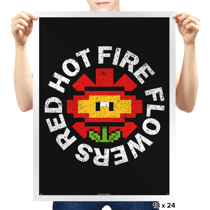 Red Hot Fire Flowers - Prints - Posters - RIPT Apparel