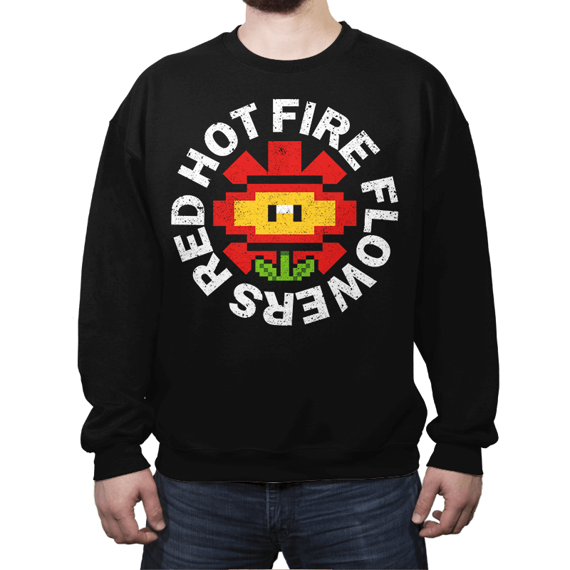 Red Hot Fire Flowers - Crew Neck - Crew Neck - RIPT Apparel
