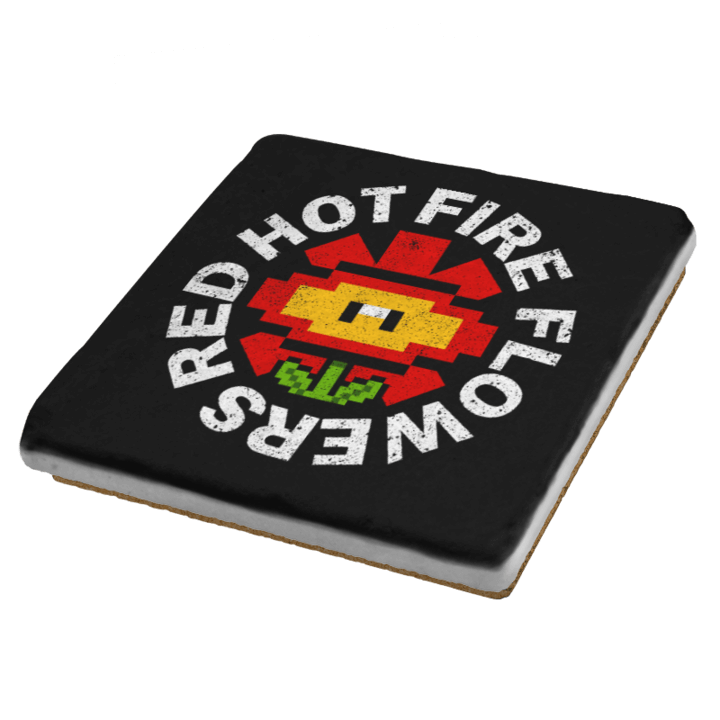 Red Hot Fire Flowers - Coasters - Coasters - RIPT Apparel