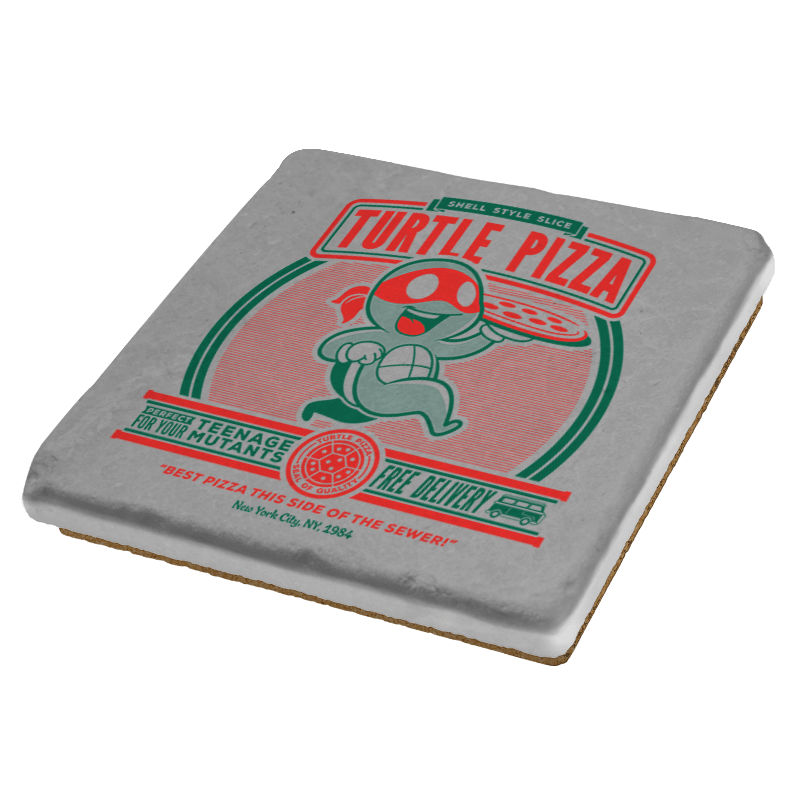 Turtle Pizza - Coasters - Coasters - RIPT Apparel
