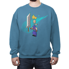 The Blocky Hero of Midgar - Crew Neck Sweatshirt - Crew Neck Sweatshirt - RIPT Apparel