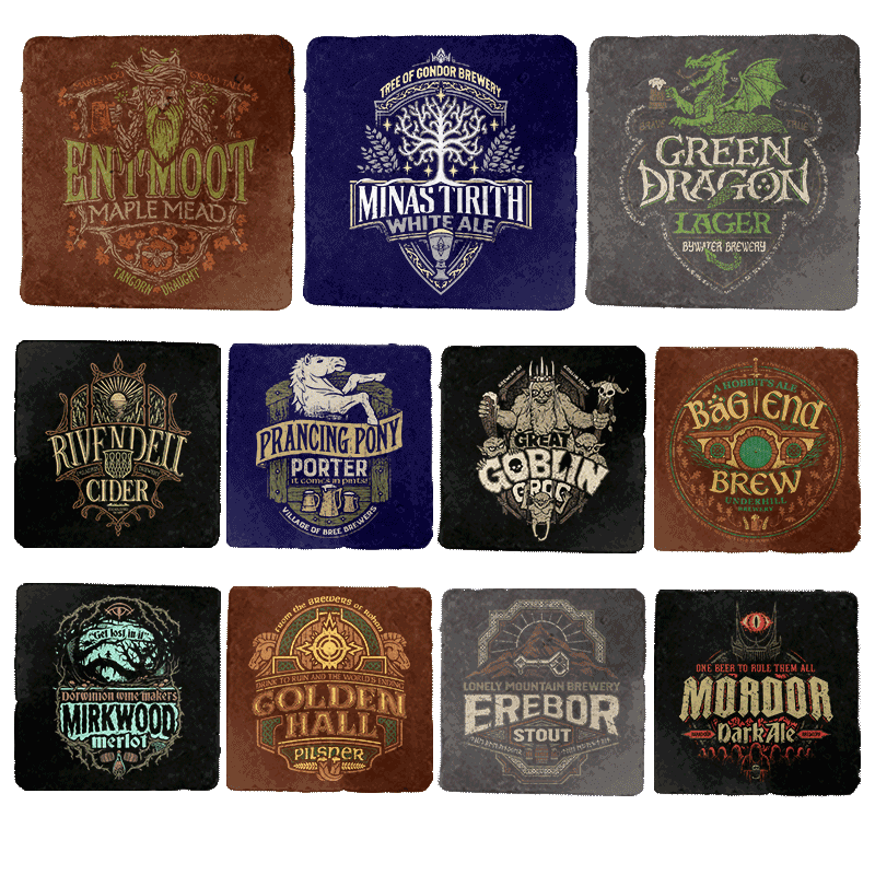Middle Earth Brewery Tour 11-Coaster Set - Crestfest - Coasters - Coasters - RIPT Apparel