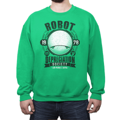 Robot Depreciation Society - Crew Neck Sweatshirt - Crew Neck Sweatshirt - RIPT Apparel