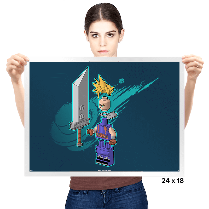 The Blocky Hero of Midgar Exclusive - Prints - Posters - RIPT Apparel