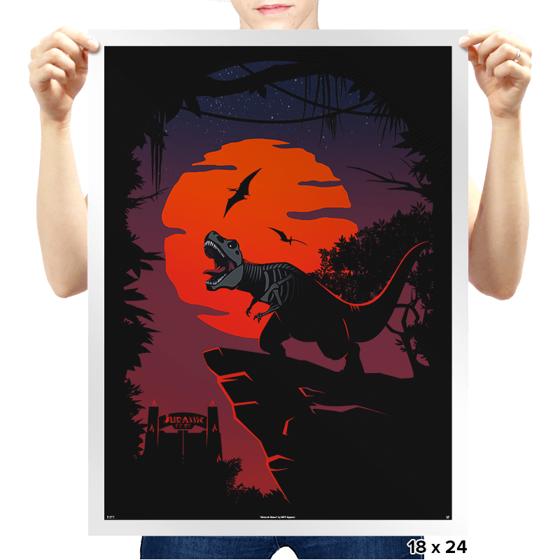 Dino Park Sunset - Prints - Posters - RIPT Apparel