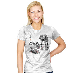 Battle in the Snow sumi-e - Womens - T-Shirts - RIPT Apparel