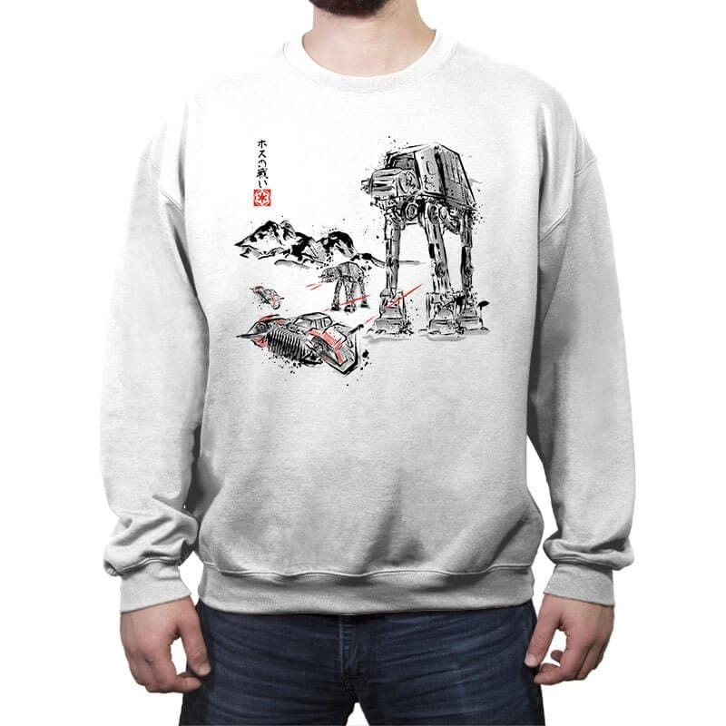 Battle in the Snow sumi-e - Crew Neck Sweatshirt - Crew Neck Sweatshirt - RIPT Apparel