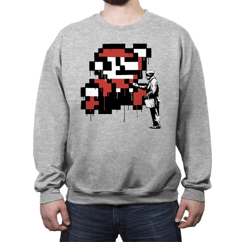 Graffiti Mario - Crew Neck Sweatshirt - Crew Neck Sweatshirt - RIPT Apparel