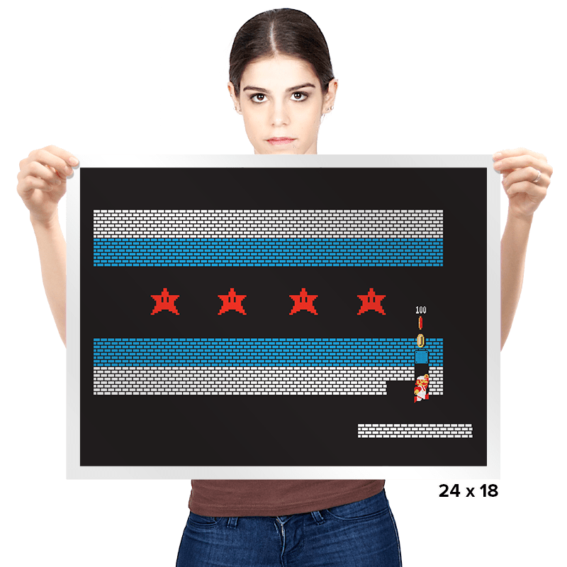 Chicago Mario Bricks Flag - Prints - Posters - RIPT Apparel