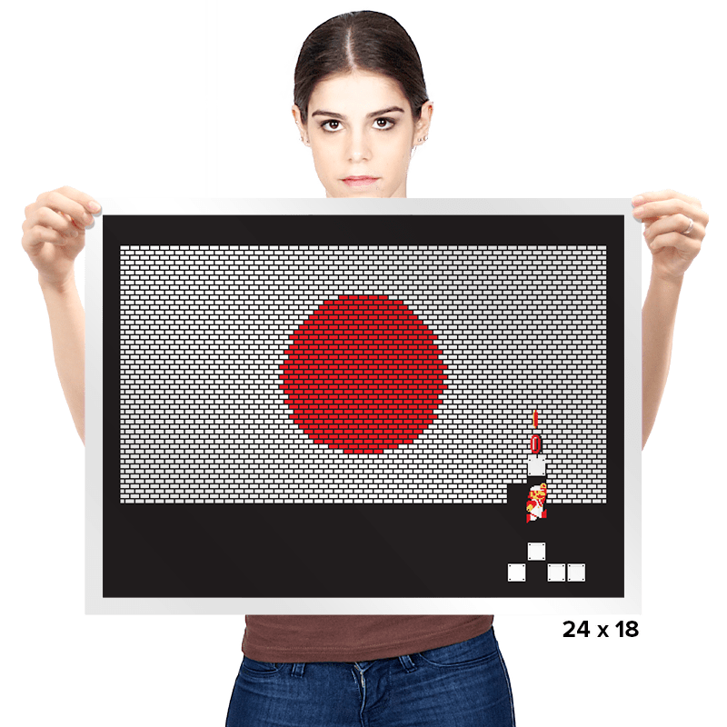 Japan Mario Bricks Flag - Prints - Posters - RIPT Apparel