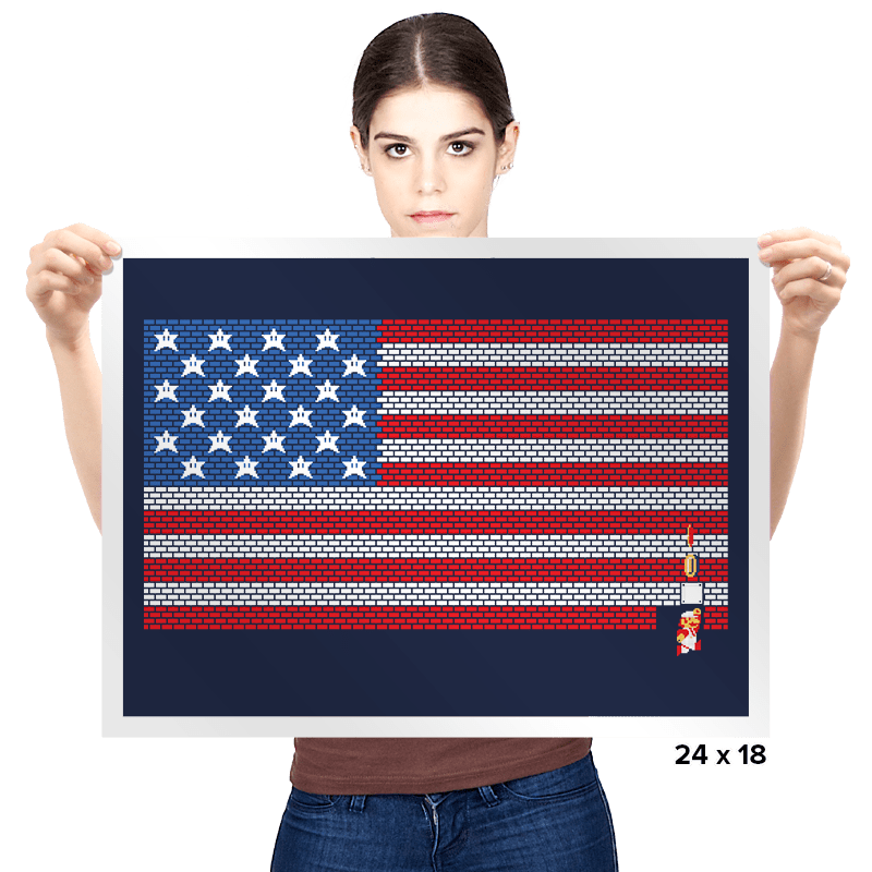 USA Mario Bricks Flag - Prints - Posters - RIPT Apparel