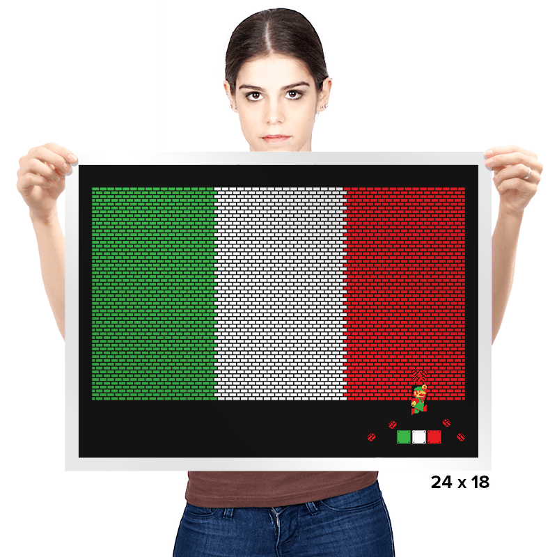 Italy Mario Bricks Flag - Prints - Posters - RIPT Apparel