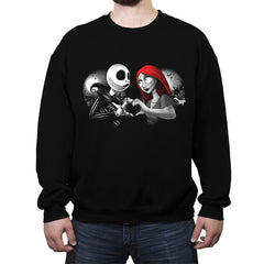 Her Skeleton, His Doll - Crew Neck Sweatshirt - Crew Neck Sweatshirt - RIPT Apparel