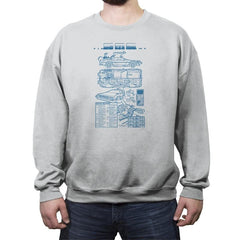 Time Machine Technical Blueprint - Crew Neck Sweatshirt - Crew Neck Sweatshirt - RIPT Apparel