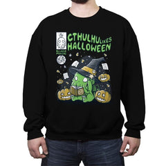 Cthulhu Likes Halloween - Anytime - Crew Neck Sweatshirt - Crew Neck Sweatshirt - RIPT Apparel