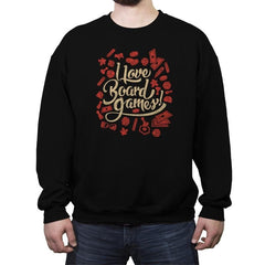 I Love Board Games - Crew Neck Sweatshirt - Crew Neck Sweatshirt - RIPT Apparel