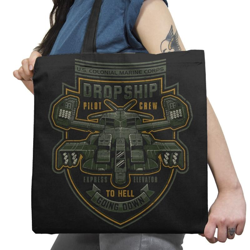 Express Elevator to Hell - Extraterrestrial Tees - Tote Bag - Tote Bag - RIPT Apparel