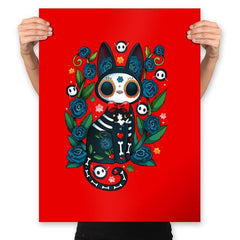 Calavera Witched Cat - Prints - Posters - RIPT Apparel
