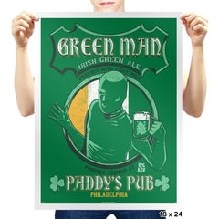 Green Man Irish Green Ale - Prints - Posters - RIPT Apparel