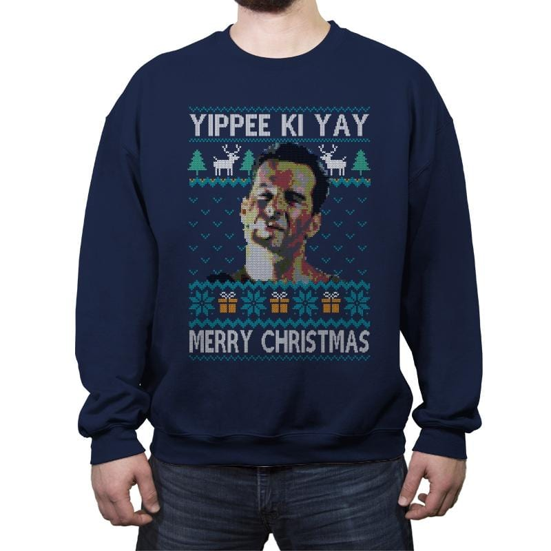 Yipee ki Yay Merry Christmas - Crew Neck Sweatshirt - Crew Neck Sweatshirt - RIPT Apparel