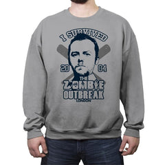 I Survived The Zombie Outbreak - Anytime - Crew Neck Sweatshirt - Crew Neck Sweatshirt - RIPT Apparel