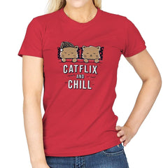 Catflix And Chill - Womens - T-Shirts - RIPT Apparel