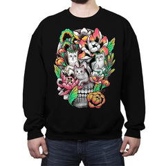 Floral Skull - Crew Neck Sweatshirt - Crew Neck Sweatshirt - RIPT Apparel