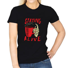 Staying Alive With Coffee - Womens - T-Shirts - RIPT Apparel