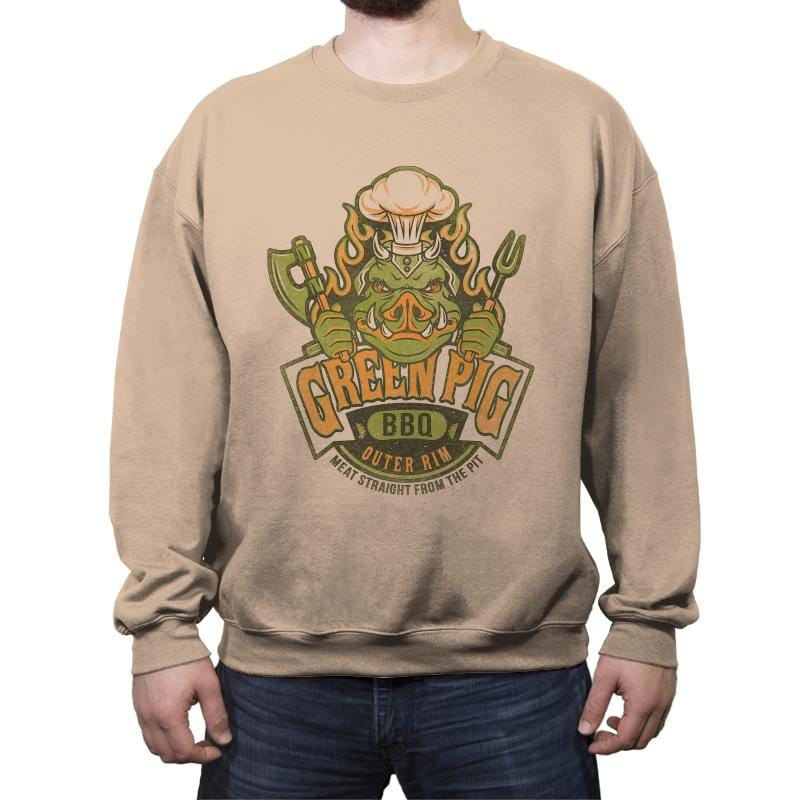 Green Pig BBQ - Crew Neck Sweatshirt - Crew Neck Sweatshirt - RIPT Apparel