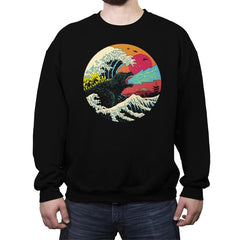 Retro Wave Kaiju - Crew Neck Sweatshirt - Crew Neck Sweatshirt - RIPT Apparel