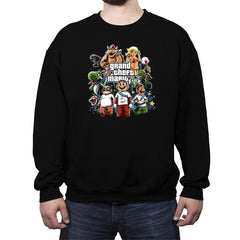 Grand Theft Mario V Reprint - Crew Neck Sweatshirt - Crew Neck Sweatshirt - RIPT Apparel